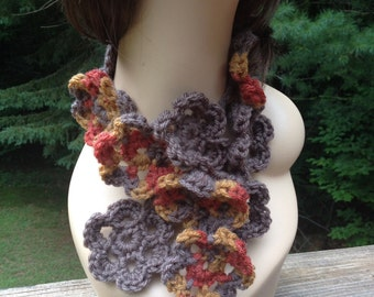 Fall Print Flower Scarf
