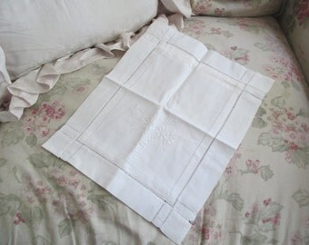 Cutest Unique Vintage White Embroidered Drawnwork Hankie Gift Bag Looks Like Pillow C103