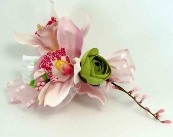Pink and Green Orchid  Corsage