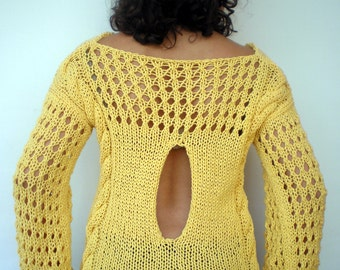 Sunny Yellow Cabled Sweater Trendy Chunky  Cotton Hand Knit Woman Sweater NEW
