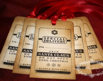 Christmas Tags - Special Delivery from Santa - Vintage Appearance - Set of 5