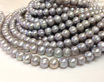 10 mm Large Hole Freshwater Pearl Potato Beads - Gray - 2.5 mm hole (G1934G62)