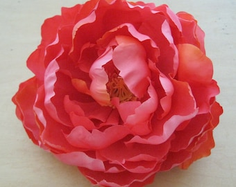 Full Variegated Coral Peony Silk Flower Brooch Pin