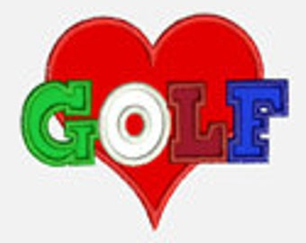 Heart Golf...Embroidery Applique Design...Three sizes for multiple hoops...Item1504...INSTANT DOWNLOAD
