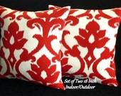 "Decorative Throw Pillows,  Indoor/Outdoor Pillows, Pillow Covers  - Set of Two 18"" in Red and Ivory"