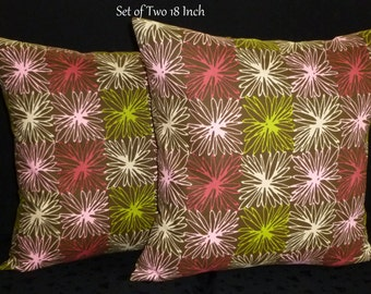 Throw Pillows, Decorative Pillows, Pillow Covers, Home Decor, Accent Pillows - Two 18 Inch Pillow Covers - Brown, Pink & White