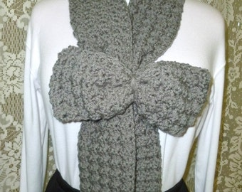 Bow Scarf, Crochet Bow Scarf with Detachable Bow in Grey