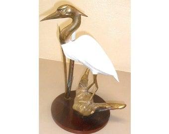 Unique Vintage Egret Brass Sculpture