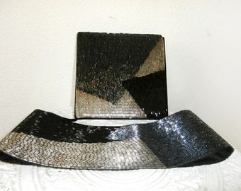 Vintage Beaded Belt and Matching Beaded Purse