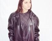 Oversize Leather Biker Jacket BOMBER Jacket Black Vintage Avant Garde SLOUCHY Asymmetrical Cocoon Shape s, m, l