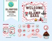 Glamping Birthday Party Collection Printable Chevron Tent Camp Bunting Chandelier Monogram Bonfire Red Pink Blue Party Set