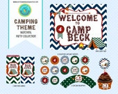 Camping Party Collection Chevron Tent Camp Bunting Birthday Printable bonfire green navy orange red Party Set