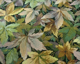 """Vintage 56"""" Wide Upholstery Fabric Leaves Cotton Tapestry Chair Pillow Cushion Furniture Nature Decor Yardage"""