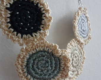 The Mini Doilies Necklace no.6 - Mini Crochet Collection, mini crocheted necklace, bohemian necklace, tiny crocheted doilies