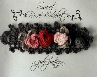 Crocheted Sweet Roses Bracelet PDF Pattern - photo tutorial, crochet pattern, crocheted bracelet, corsage, roses