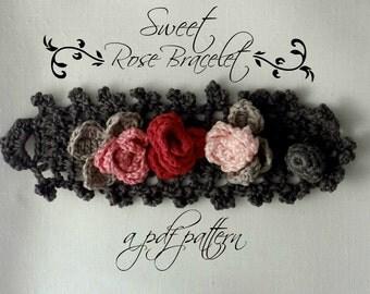 CROCHET PATTERN  Sweet Roses Bracelet PDF Pattern - photo tutorial, crochet pattern, crocheted bracelet, corsage, roses