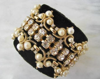 Pearl Rhinestone Cuff One Of A Kind Bracelet Vintage Costume Jewelry