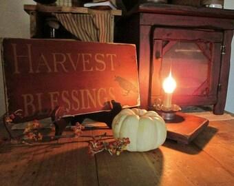 primitive Harvest Blessings sign