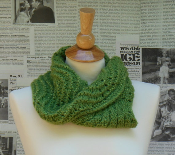 Cowl Scarf - Reversible Green Wave with Shimmering Highlights