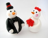 Winter wedding cake topper, snowman, bride and groom, polymer clay