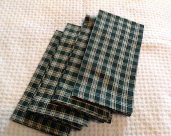 Green plaid cotton cloth napkins