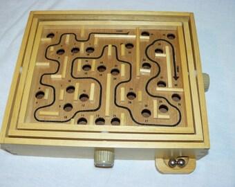 Pavilion Labyrinth Game Complete with 2 Balls Vintage All Wood Tilting Maze