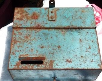Vintage Rusty Blue Metal Box. Industrial Decor. Storage. Display Piece