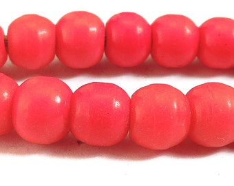 Red Prosser Trade Beads Round Molded Glass African 77201