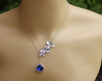 Cobalt blue flower necklace , lariat orchid necklace , silver flower necklace