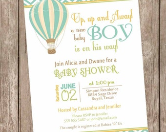 Boy Hot Air Balloon Baby Shower Invitation, up up and away, chevron baby shower invitation, brown, green, orange, printable,