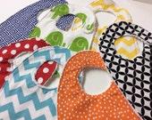Chenille Baby Bibs, Rainbow Set of 7, Red, Orange, Green, Blue, Yellow, Gender Neutral Boy or Girl
