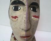 Handmade, Vintage Indian Head, Totem, Carved Indian Art, Old Rustic Wood Art, Big Ugly Head, Painted Indian Totem, Garden Art, Tribal Art,