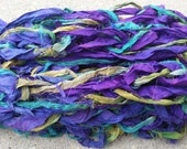 "Silk Scarf, Wrap, Cowl or Shawl Accessory, Arm Knitted - Fair Trade - ""Peacock"" ~ One of A Kind ~ Lightweight, Purple, Teal and Green"