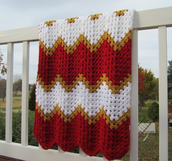 Crochet Pattern Kansas City Chiefs Afghan : Items similar to Kansas City Chiefs blanket afghan crochet ...