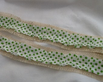 Ruffle Ribbon, Green Polka Dot and Burlap Ribbon, Wedding DIY, Mason Jar Wrap, Crafting Supplies