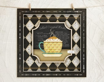 Kitchen Cuisine Coffee I-Salted Caramel Mocha - 12x12 Art Print - Coffee Lover - Kitchen Gifts Wall Decor - White, Black, Gold, Green, Red