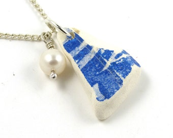 Blue and White Sea Beach Pottery Necklace