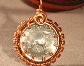 Greyhound/Sighthound Coin With Copper  Bezel/Leather Necklace