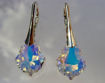 Swarovski Crystal AB Sterling Silver Leverback Earrings