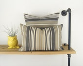 Modern outdoor striped pillow case , Pation garden decor - 12x18 inches decorative pillow / 30x45 cm - Grey, black, khaki and cream stripes