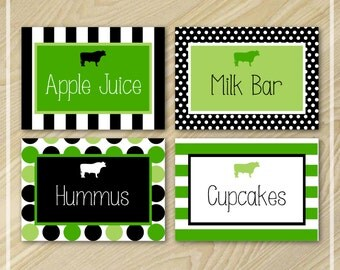 Cow Party - Food Labels - Buffet Labels - Farm Birthday Party