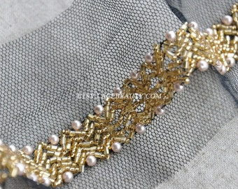 1.9 Yard Lace Trim Gold Beaded sequined WIth Pink Pearl Beads For Costume Wedding Dress Belt Brial Sash Jewelry Design