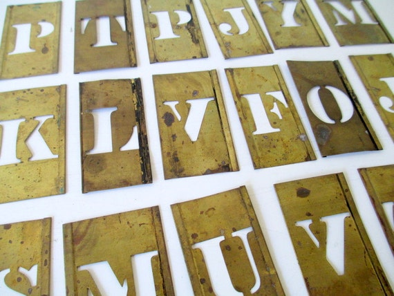 items similar to choose one brass stencil metal vintage stencils alphabet letters on etsy
