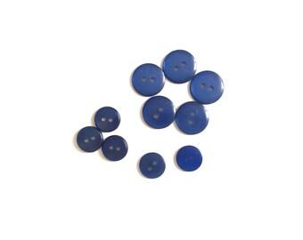 10 Vintage Cobalt Blue Vintage Buttons, Flat, Pearlised