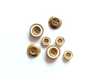 7 Antique Gold Metal Buttons