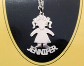 """sterling silver kid charm 1"""" tall ,with a name , chain included . kid05"""