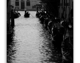 "Venice Photography, Italy photos, canals of Venice, gondola, Venice decor, Europe art - ""Away"" - Black & White Fine Art Photograph"
