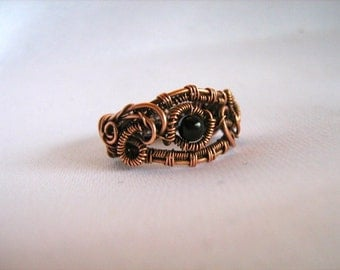 Black Onxy and Antique Copper  Ring /  Inner Strength