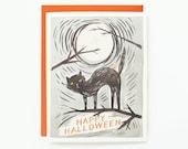 Black Cat Halloween Card 1pc