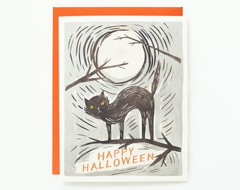 Black Cat Halloween Card 1pc